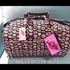 """NEW XL BETSEY JOHNSON WEEKENDER QUILTED BAG  BETSEY JOHNSON WEEKENDER XL TRAVEL DUFFLE BAG  **Light weight for travel** **Plush, soft and durable** **Tons of space and pockets** Listed on Merc 4 less $ & Free Ship❣ Soft plush nylon fabric quilted fabric hardware Retails for $158.00 signature nameplate Black bottom w/feet Platform bottom with 4 feet Dual padded handles w/a 9"""" drop Removable/adjustable strap w/12-24"""" drop INTERIOR Zip pocket on back wall & 2 slip pockets Fully lined in stripe…"""