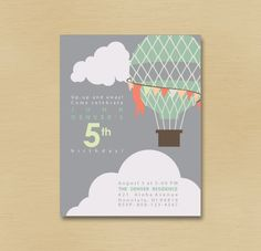 Hot Air Balloon Printable Party Invitation by PrinterPaperScissors, $12.00