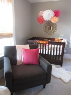 Color scheme - Nursery colors for girl, not crazy about hanging pom poms over my baby's crib, maybe wall art in the same scheme