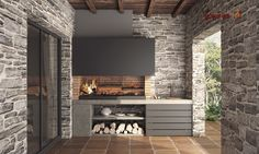 45 Exceptional Outdoor Kitchen Ideas and Designs to Makeover Your Home - Contemporary Modern Kitchen Ideas, Small Kitchen Renovation, DIY, Designblaz Modern Outdoor Kitchen, Outdoor Kitchen Bars, Backyard Kitchen, Outdoor Kitchen Cabinets, Parrilla Interior, Grill Bar, Cheap Renovations, Küchen Design, Design Ideas