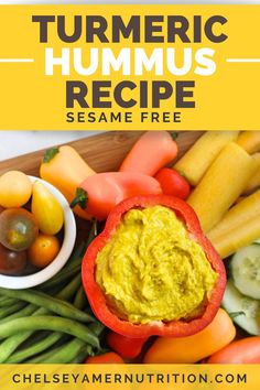 Get creative with your homemade hummus and try this version! This turmeric hummus has no sesame and adds the health-promoting spice turmeric to the mix instead, creating a different flavor profile that tastes great as a vegetable dip. Healthy Appetizers Dips, Appetizers Table, Appetizer Dips, Homemade Hummus, Hummus Recipe, Food Allergies, Turmeric, A Food, Food Processor Recipes