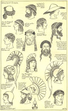 "I thought the different types of hats and hairstyles were interesting considering it had a lot to do with class and what line of work you were in. ""ANCIENT GREEK FASHION: Men's hairstyles and hats throughout Ancient Greek history"" Greek History, Ancient History, European History, American History, Ancient Greece Fashion, Ancient Greek Clothing, Ancient Greek Costumes, Greek Fashion, Roman Fashion"