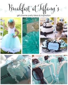 So many cute ideas for a Breakfast at Tiffanys themed birthday party, bridal or baby shower.  Love the tiffany blue girls dress, cute Tiffany themed favors