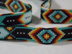 Native American Beaded Cherokee Green Chevron Hat Band