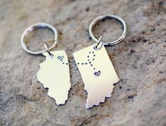 CUSTOM Long Distance Love KEYCHAINS Best Friend Gift- Set of TWO State Maps (Indiana Keychain Illinois Keychain):