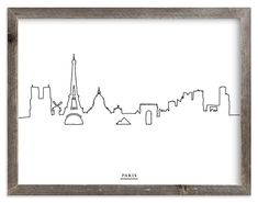 Skyline Line: Paris Art Print Little Paris, Skyline Art, Paris Art, New City, Windmill, Notre Dame, Hand Drawn, Cathedral, How To Draw Hands