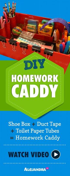 [VIDEO]: DIY Organization Ideas (Part DIY Homework Caddy! Get your student organized and ready for schoolwork this year with a portable homework station. Help keep their school supplies organized at home! School Supplies List Elementary, School Supplies For Teachers, School Supplies Highschool, School Supplies Organization, Desk Organization, Organizing School, Office Supplies, Organizing Ideas, Homework Caddy