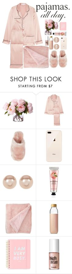 """pjs"" by avramraisa ❤ liked on Polyvore featuring Olivia von Halle, J.Crew, Nordstrom Rack, The Body Shop, Soma, ban.do, Benefit and LovelyLoungewear"