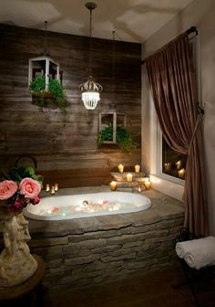 Beautiful stone bathtub