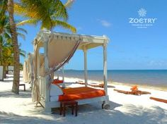 The sugar-white sand beach extending over half a mile at Zoetry Paraiso de la Bonita Riviera Maya where guests making reservations with @5staralliance receive one complimentary 50 minute spa treatment per person, VIP status, and an in-room welcome amenity.