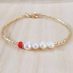 Dainty Freshwater Pearl Bracelet, Tiny Gold Seed Bead Bracelet, Minimalist Stacking Red Bracelet, Pearl Jewelry, Mothers Day Gift for Her Freshwater Pearl Bracelet, Pearl Jewelry, Beaded Jewelry, Pearl Rings, Pearl Necklaces, Jewelry Necklaces, Seed Bead Bracelets, Gemstone Bracelets, Seed Beads