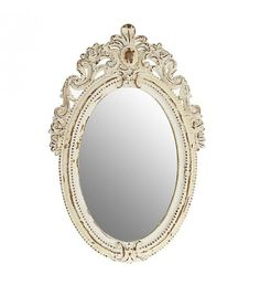 POLYRESIN WALL MIRROR IN ANTIQUE WHITE COLOR 30X3X45
