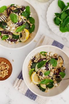 This healthy bowl meal will feed your whole family, and with mostly pantry ingredients! Great if you have orzo, pine nuts, bread crumbs, and dried herbs.