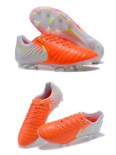 los angeles 906c6 ee534 Nike Crampons de Foot Tiempo Legend 7 FG Cuir - Orange Blanc