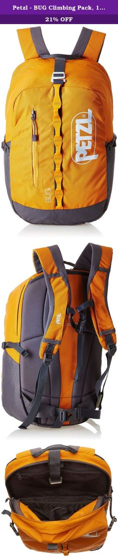 Petzl - BUG Climbing Pack, 18L / 1098 Cubic Inches, Orange. The BUG backpack is designed for single-day multi-pitch rock climbing, and is perfect for everyday uses. Suitable for carrying gear on the approach and when climbing (hydration system, food, clothing, shoes). It is designed to offer the best possible comfort: minimum bulk, freedom of shoulder movement, foldaway waist belt, high carrying position for unobstructed access to harness.
