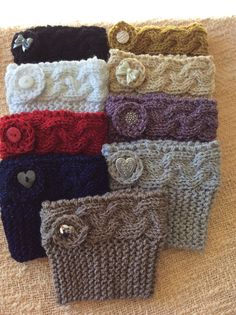 Metallic Knitted Boot Cuffs with Button Trim by SparkleYarn