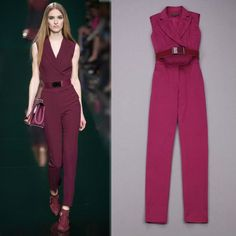 Free Shipping Runway 2014 Dark Red Sleeveless Fashion Jumpsuits for women with a belt  140410XB01 $72.00