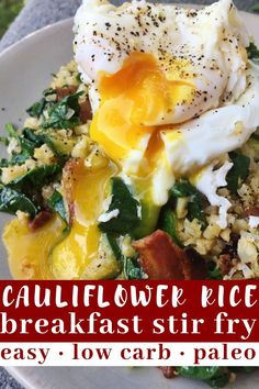 This cauliflower breakfast stir fry is low carb, paleo friendly and so, so easy to throw together. It is quick, easy, satisfying and healthy all the things I look for in a paleo breakfast. This simple stir fry is perfect any time of day.