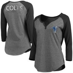 Indianapolis Colts NFL Pro Line Women s Philips Henley 3 4-Sleeve T-Shirt -  Gray 60bf5030a