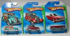 HOT WHEELS 2009 REGULAR TREASURE HUNTS LOT OF 3    1) FORD MUSTANG    2) '34 FORD    3) '37 FORD    ALL CARS ON LONG CARDS IN EXCELLENT CONDITION, $17.88