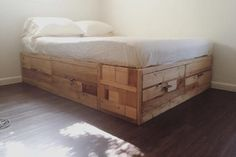 Scrap wood storage bed