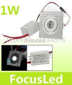 Wholesale -10pcs/lot  Mini Square Led Ceiling Downlight Lamp 1W High Power AC110-240V 2700K Warm White Led Recessed Light
