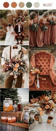 Orange Wedding Colors, Fall Wedding Colors, Autumn Wedding, Burnt Orange Weddings, Orange Wedding Decor, Color Scheme Wedding, Wedding Color Schemes Fall Rustic, Burnt Orange Bridesmaid Dresses, Perfect Wedding