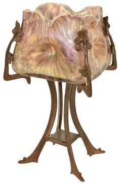 Unusual Bohemian Art Glass Boudoir Lamp.