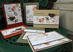 hand crafted card set ... One Sheet Wonder ... like the addition of the black punched bird silhouette ... Stampin' Up!