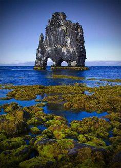 Le troll pétrifié de HvítserkurIl, dans le fjord de Húnafjörður Pas rare, en Islande, de croiser de gigantesques créatures mythologiques. Selon la légende, cet imposant rocher serait un troll qui aurait été surpris par l'aube et pétrifié par la lueur du jour. D'autres y voient avant tout un bloc basaltique d'une quinzaine de mètres de haut, modelé au fil du temps par l'érosion. Les fondations du rocher à 2 arches ont été renforcées par l'homme