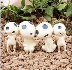 4 x Princess Mononoke Tree Spirits Mini Garden Bonsai Fairy Miniature New S Fun