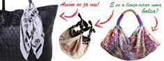 Personalize sua bolsa com um lenço da sua preferência! :) Chá de Mulher