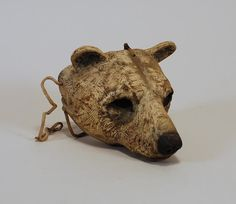 Hib Sabin.  This piece is a fully wearable wooden mask. Carved from Juniper and fitted with leather thongs, it can be worn comfortably - as is typical of Hib's masks, the front is visibly the positive image of the animal, and the back is a negative image of the human.