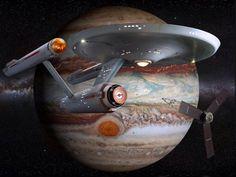 Restored Starship Enterprise Model and Juno Probe by Star Trek Party, Star Trek 1, Star Trek Ships, Enterprise Model, Star Trek Enterprise, Star Trek Wallpaper, Star Trek Posters, Arte Sci Fi, Star Trek Beyond