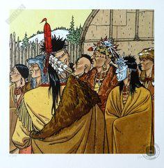 Affiche d'art BD signée André Juillard, 'Les indiens du Canada, plumes au vent' - Illustrose