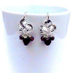 Leaf Earrings Garnet Earrings Silver Garnet Dangles by lyrisgems