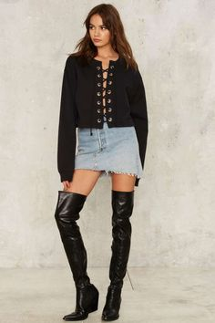 After Party by Nasty Gal Together at Last Lace-Up Sweatshirt - Clothes | After Party | Grunge | Pullover | Tops