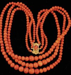 Victorian Coral Three Strand Necklace With 14kt Gold Clasp