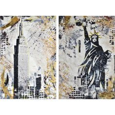 Set of two - Printed and hand-painted on canvas - Matte finish - Gold leaf accents Southern Charm, Gold Leaf, Gotham, Moose Art, Hand Painted, Canvas, Fall, Artist, Prints
