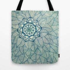 Emerald Green, Navy & Cream Floral & Leaf doodle Tote Bag