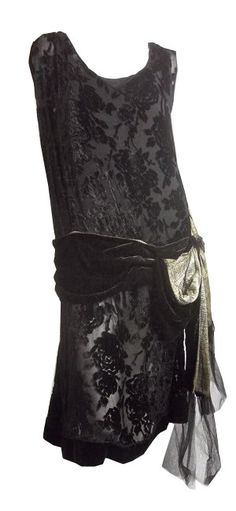 Black Glamour Voided Velvet Metallic Gold Sash Trimmed Dress circa 1920s