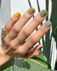 For spring the more nail polish colors you wear, the better. Here's how to wear different color nails, gradient nails, multicolored nails, and mismatched nails for spring Nail Polish Trends, Nail Polish Colors, Manicure Colors, Green Nail Polish, Neutral Nail Polish, Nail Color Trends, Polish Nails, Nails Inc, Gel Nails