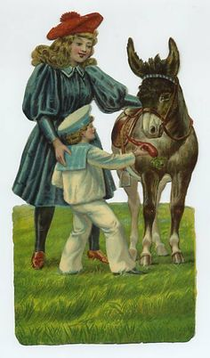 Late 1800's Large Embossed Die-Cut Girl Boy & Donkey