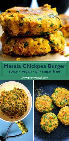 masala chickpea burger, burger recipe, indian burger, healthy recipe, vegan, gluten free, low carb, vegetarian