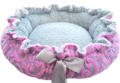 Dog Bed Pink and Gray Scroll With Silver Dot Minky by OnePoshPup, $45.00