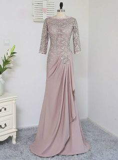 Silhouette:A-Line Sleeve Length(cm):Three Quarter Decoration:Lace is_customized:Yes Sleeve Style:Cap Sleeve Actual Images:Yes Dresses Length:Floor-Length Fabric Type:Chiffon