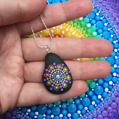 Hand painted mandala stone pendant. Dot Art. Wearable art.