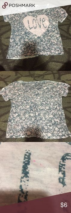 "Delias floral ""love"" crop top Small pink paint mark inside of heart, but looks like it's part of the design. Other than that I'm good condition delias Tops Crop Tops"