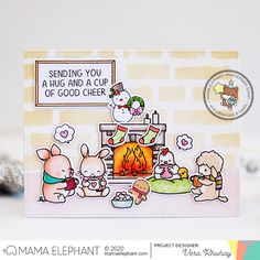 moccavanila by vera rhuhay: MAMA ELEPHANT - TOASTY FRIENDS Holiday Greeting Cards, Christmas Cards, Sending You A Hug, Mama Elephant Stamps, Friends Image, Elephant Design, Good Cheer, Clear Stamps, Blue Bird