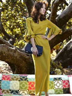 Summer Elegant Pure Color Flare Sleeve Maxi Dress With Sashes - AUD 35.95